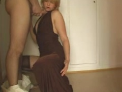 Filthy blonde amateur wife sucks cock and shows panty cunt