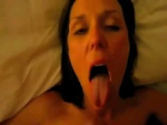 Brunette wife has her mouth open to receive his cumshot and swallow his seed